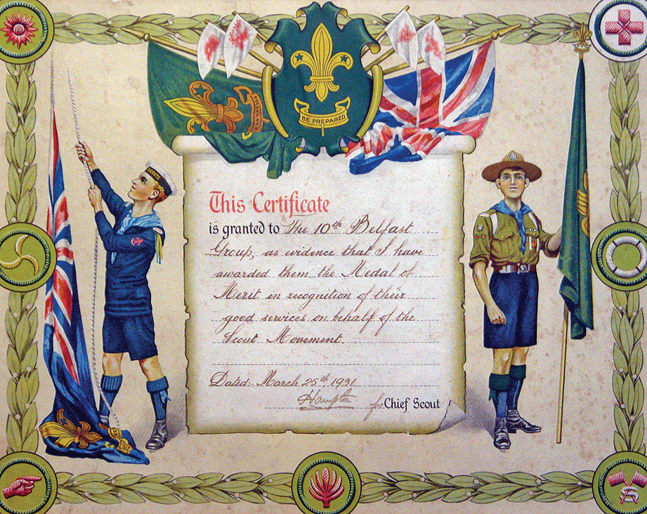 Competitions and awards tenth scouts certificate of the medal of merit awarded to the 10th belfast yelopaper Choice Image